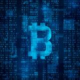 Bitcoin digital valuta Symbol av bitcoin på blå binär kod abstrakt bakgrundsvektor royaltyfri illustrationer