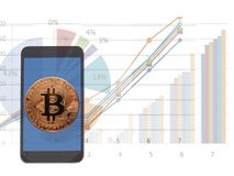 Bitcoin, Digitale munt Cryptocurrency stock foto