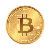 Bitcoin Digitale munt Cryptocurrency Gouden die muntstuk met bitcoinsymbool op witte achtergrond wordt geïsoleerd Royalty-vrije Stock Foto's