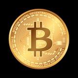 Bitcoin Digitale munt Cryptocurrency Gouden die muntstuk met bitcoinsymbool op zwarte achtergrond wordt geïsoleerd Royalty-vrije Stock Foto's