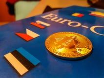 Bitcoin digitalt Cryptocurrency mynt royaltyfri bild
