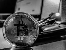 Bitcoin digitalt Cryptocurrency mynt arkivfoto