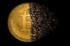 Bitcoin disintegration. Bitcoin symbol explosion and disintegration Royalty Free Stock Images