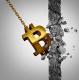Bitcoin Disruptive Technology. Bitcoin disruptive new economic and financial currency technology as a wrecking ball destroying a wall as a business symbol for Stock Photos