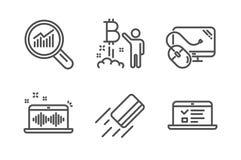 Ανάλυση στοιχείων, παραγωγή μουσικής και εικονίδια προγράμματος Bitcoin καθορισμένες Πιστωτική κάρτα, ποντίκι υπολογιστών και σημ απεικόνιση αποθεμάτων