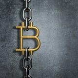 Bitcoin do elo de corrente Imagens de Stock