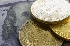 Bitcoin dolara i pieniądze złoty menniczy Nowy wirtualny tło Cryptocurrency Biznes i Handlarski pojęcie Zakończenie Zdjęcia Stock