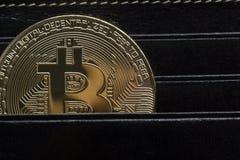 Bitcoin dolara i pieniądze złoty menniczy Nowy wirtualny tło Cryptocurrency Biznes i Handlarski pojęcie Zakończenie Obraz Royalty Free