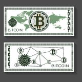 Bitcoin dollar banknote template. Concept for game, card, gift, business simulation. Vector illustration. Paper money design. Digital currency design. Business Stock Image