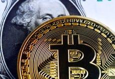 Bitcoin on dollar bill. Bitcoin on one  dollar banknote. Trading concept Royalty Free Stock Photos