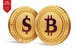 Bitcoin. Dollar coin. 3D isometric Physical coins. Digital currency. Cryptocurrency. Golden coins with Bitcoin and Dollar symbol i. Solated on white background Stock Photo