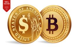 Bitcoin. Dollar coin. 3D isometric Physical coins. Digital currency. Cryptocurrency. Golden coins with Bitcoin and Dollar symbol i. Solated on white background Stock Image