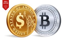 Bitcoin. Dollar coin. 3D isometric Physical coins. Digital currency. Cryptocurrency. Golden and silver coins with Bitcoin and Doll. Ar symbol isolated on white Stock Photography