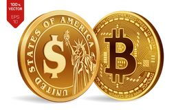 Bitcoin. Dollar coin. 3D isometric Physical coins. Digital currency. Cryptocurrency. Golden coins with Bitcoin and Dollar symbol i. Solated on white background Stock Photos