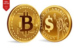 Bitcoin. Dollar coin. 3D isometric Physical coins. Digital currency. Cryptocurrency. Golden coins with Bitcoin and Dollar symbol i. Solated on white background Royalty Free Stock Image