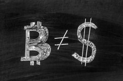 Bitcoin and dollar Royalty Free Stock Image