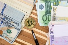 Bitcoin with dollar and euro. Banknote Stock Photography
