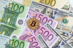 Bitcoin with dollar and euro. Banknote Royalty Free Stock Images