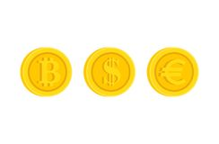Bitcoin, Dollar, Euro het pictogramreeks van het pictogramteken vector illustratie