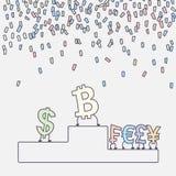 Bitcoin, Dollar, Euro, Pfund, Yen auf dem Podium Bitcoin ist der Sieger Flaches Design Auch im corel abgehobenen Betrag Lizenzfreie Abbildung