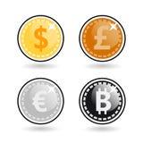 Bitcoin, dollar, euro, pond geïsoleerde vectorbeeldreeks Royalty-vrije Stock Foto