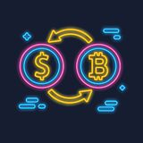 Bitcoin and Dollar Exchange concept. Neon glowing cryptocurrency sign. Digital money. Block chain. Finance symbol. Vector illustration Royalty Free Stock Image