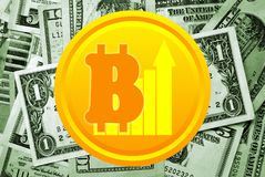 Bitcoin and dollars on background Royalty Free Stock Images