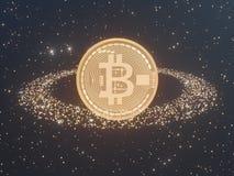 Bitcoin door Gouden muntstukkencryptocurrency wordt omringd, monero het 3D illustratie teruggeven, geïsoleerd op witte backgroun  Stock Foto's