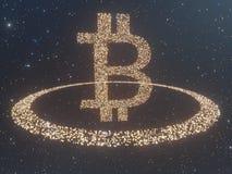 Bitcoin door Gouden muntstukkencryptocurrency wordt omringd, monero het 3D illustratie teruggeven, geïsoleerd op witte backgroun  Stock Afbeeldingen