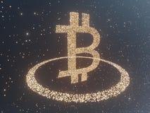 Bitcoin door Gouden muntstukkencryptocurrency wordt omringd, monero het 3D illustratie teruggeven, geïsoleerd op witte backgroun  Royalty-vrije Stock Fotografie