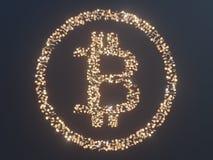 Bitcoin door Gouden muntstukkencryptocurrency wordt omringd, monero het 3D illustratie teruggeven, geïsoleerd op witte backgroun  Stock Foto