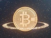 Bitcoin door Gouden muntstukkencryptocurrency wordt omringd, monero het 3D illustratie teruggeven, geïsoleerd op witte backgroun  Royalty-vrije Stock Afbeelding