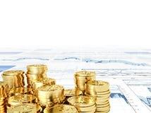 Bitcoin dorato Fotografia Stock Libera da Diritti