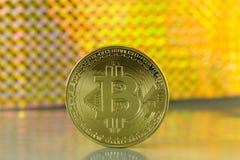 Bitcoin dorato Fotografie Stock Libere da Diritti