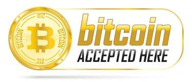 Bitcoin dorato accettato qui Fotografia Stock Libera da Diritti