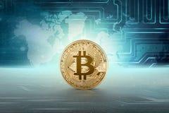 Bitcoin dorato dei soldi virtuali Immagine Stock Libera da Diritti