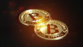 Bitcoin dorato Distorsione della lente ed effetto cromatico 3D macro r illustrazione di stock
