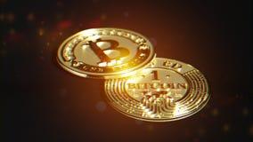 Bitcoin dorato Distorsione della lente ed effetto cromatico 3D macro r Immagine Stock