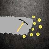 Bitcoin dorato su fondo grigio Estrazione mineraria cripto di valuta con le monete ed i picconi Illustrazione Vettoriale