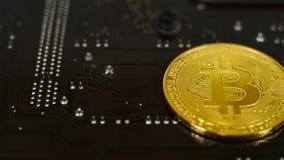 Bitcoin dourado Cryptocurrency video estoque