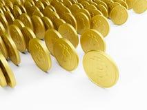 Bitcoin dourado de rolamento Imagens de Stock Royalty Free