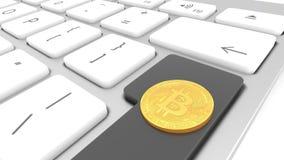 Bitcoin dourado, digital, moeda em um teclado de computador, close up do cyber ilustração stock