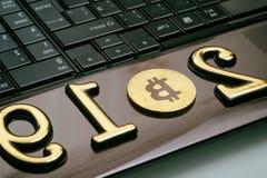 bitcoin dourado encontra-se em um portátil A inscrição 2019 Há uma tonificação fotos de stock royalty free