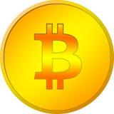 Bitcoin dourado isolado em um fundo branco Fotos de Stock Royalty Free