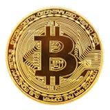 Bitcoin dourado isolado no fundo branco Imagem de Stock Royalty Free