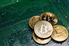 Bitcoin dourado no cart?o-matriz verde imagem de stock