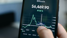 Looking at Bitcoin downtrend 2018 bear market on smartphone cryptocurrency app. Bitcoin 2018 downtrend bear market price graph on mobile phone screen stock footage
