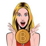 Bitcoin dziewczyny emocja radości bitcoin wszelkie konceptualny zielony środowiska rosnącego wzrostu inwestycji ilustracyjny inwe royalty ilustracja