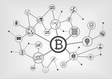 Bitcoin e concetto del blockchain con il simbolo del bitcoin visualizzato liberamente sullo schermo attivabile al tatto frameless Fotografie Stock