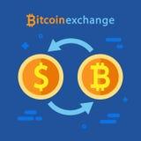 Bitcoin e concetto di cambio del dollaro Cryptocurrency e simboli di dollaro Fotografia Stock